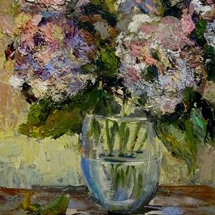 Art: Pretty in Pink Hydrangeas by Artist Delilah Smith
