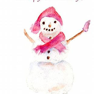 Art: Snowman Happy Holidays card by Artist Claire Bull