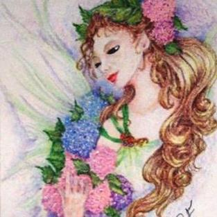 Art: HYDRANGEA FLOWER FAIRY by Artist POLLY FORD PAINTINGS