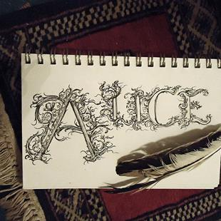 Art: Hand Lettered Alice by Artist Chris Jeanguenat