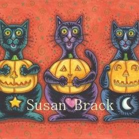 Art: BLACK CATS AND JACKS SEE NO EVIL by Artist Susan Brack