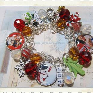 Art: Christmas Joy Altered art charm bracelet by Artist Lisa  Wiktorek
