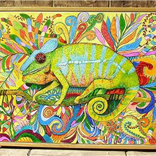 Art: Zentangle Inspired Art  - Panther Chameleon by Artist Ulrike 'Ricky' Martin