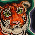 Art: Green Eyed Lady - Tiger - Zoo Faces by Artist Kim Loberg