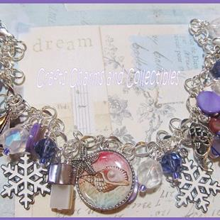 Art: Sugarplum Shores Altered art charm bracelet Christmas by Artist Lisa  Wiktorek
