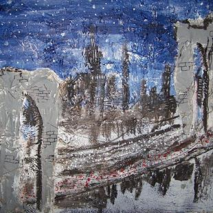 Art: Brooklyn Bridge on a Starry Night  by Artist Nancy Denommee