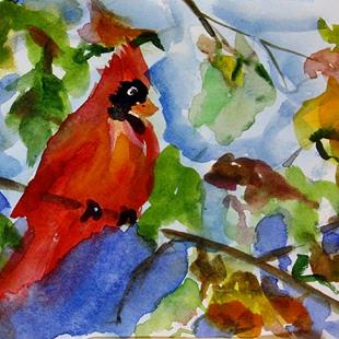 Art: Fall Cardinal by Artist Delilah Smith