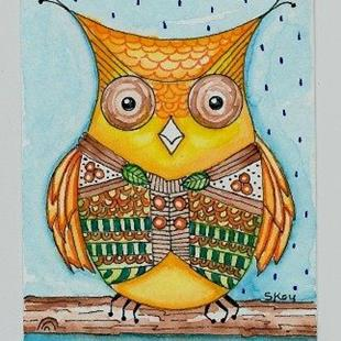 Art: Owl And His Vest-2-Sold by Artist Sherry Key