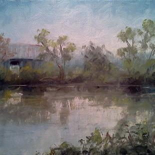 Art: Pond & Barn at Hailey Ridge Road, Bracken Co, KY 2013 by Artist Kimberly Vanlandingham