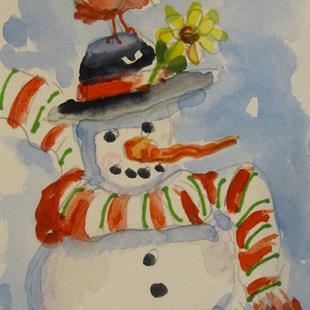 Art: Snowman with Yellow Flower Aceo by Artist Delilah Smith