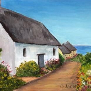 Art: Cottage by the Sea by Artist Janet M Graham