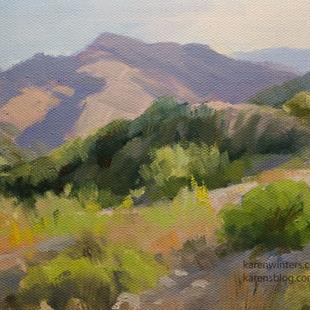 Art: Eaton Canyon with San Gabriel Mountains landscape painting SOLD by Artist Karen Winters