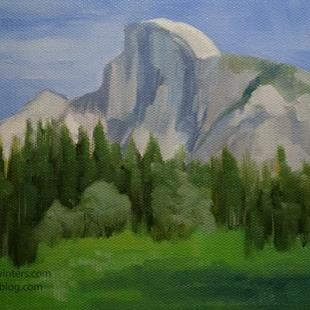 Art: Yosemite Half Dome oil painting from Yosemite Valley by Artist Karen Winters