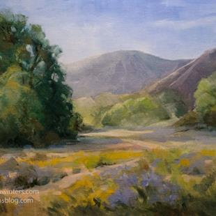 Art: Laguna Canyon Trail oil painting springtime wildflowers by Artist Karen Winters