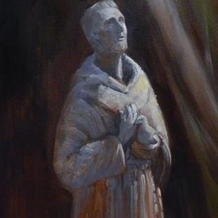 Art: St Francis statue painting Mission San Juan Bautista by Artist Karen Winters