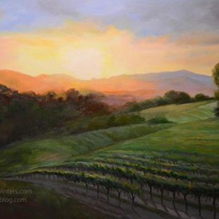 Art: Sauvignon Sunset Paso Robles California landscape oil painting SOLD by Artist Karen Winters