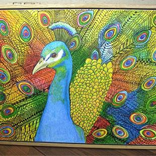 Art: Zentangle Inspired Art - Vibrant Peacock by Artist Ulrike 'Ricky' Martin