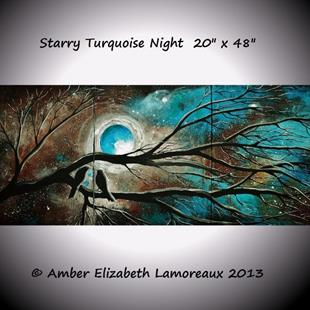 Art: Starry Turquoise Night (sold) by Artist Amber Elizabeth Lamoreaux