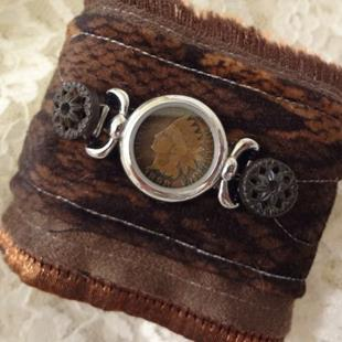 Art: (SOLD) Indian Head Cuff by Artist Vicky Helms