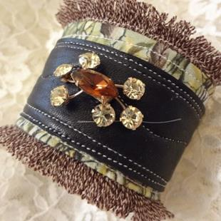 Art: SOLD Rhinestone Cuff by Artist Vicky Helms