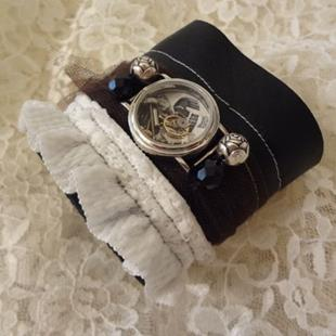 Art: Leather/Ruffle Cuff by Artist Vicky Helms