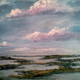 Art: Evening Clouds & Salt Marsh 2013 by Artist Kimberly Vanlandingham