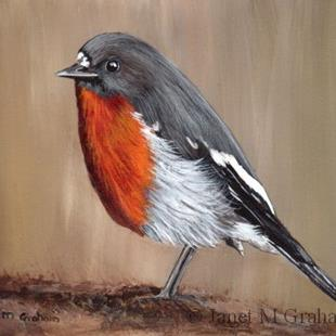 Art: Flame Robin by Artist Janet M Graham