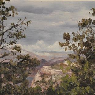 Art: Grand Canyon, View from Hermit Road With Approaching Rain, 2013 by Artist Kimberly Vanlandingham