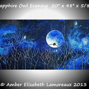 Art: Sapphire Owl Evening (sold) by Artist Amber Elizabeth Lamoreaux