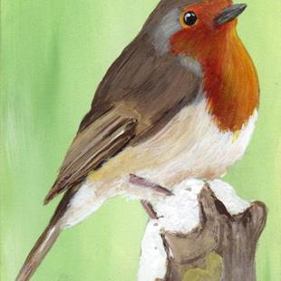 Art: European Robin ACEO by Artist Janet M Graham