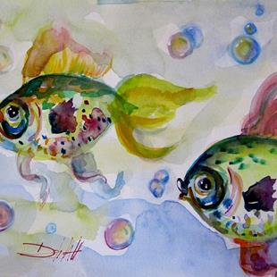 Art: Guppies and Bubbles by Artist Delilah Smith