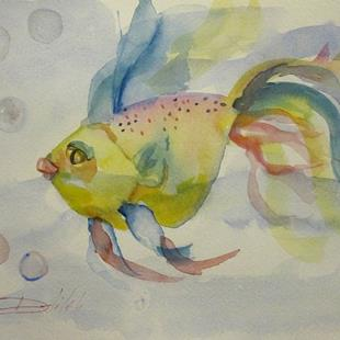 Art: Goldfish with Bubbles by Artist Delilah Smith