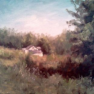 Art: White Cottage, Marshall Road, Kenton County KY, 2013 by Artist Kimberly Vanlandingham