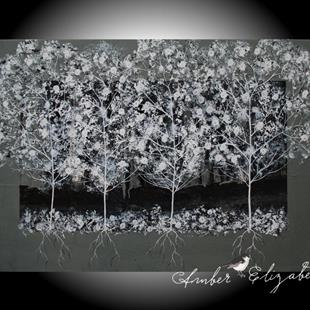 Art: Pear Blossom Trees (sold) by Artist Amber Elizabeth Lamoreaux