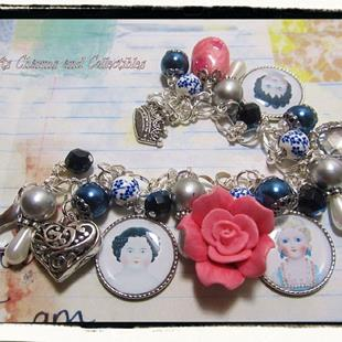 Art: Frozen Charlotte Dolls Altered Art Charm Bracelet ooak by Artist Lisa  Wiktorek