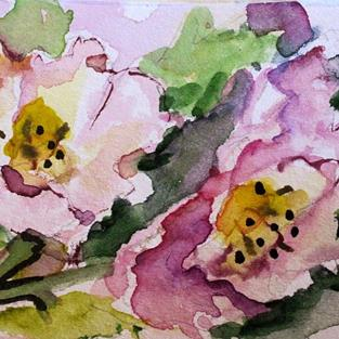 Art: Wild Rose Aceo by Artist Delilah Smith