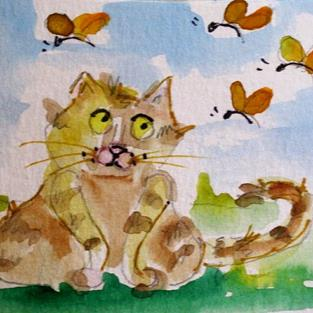 Art: Fat Cat and Butterflies by Artist Delilah Smith