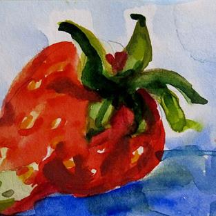 Art: Strawberry Aceo-sold by Artist Delilah Smith