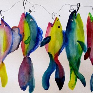Art: Blue Fish on a Hook by Artist Delilah Smith