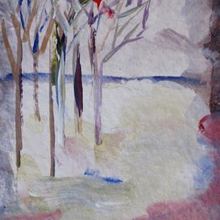 Art: Winter Trees Aceo by Artist Delilah Smith