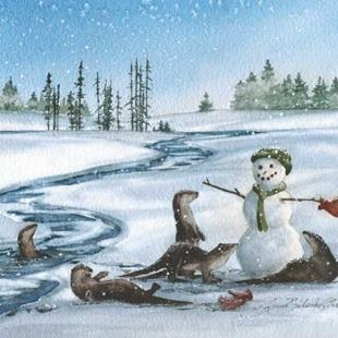 Art: Otters and Snowman by Artist Lynn Bickerton Chan
