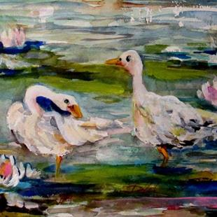 Art: Geese on the Pond by Artist Delilah Smith