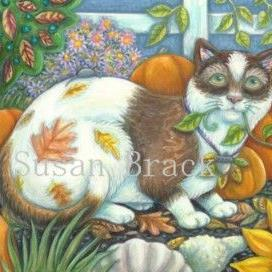 Art: SHADES OF AUTUMN TABBY by Artist Susan Brack