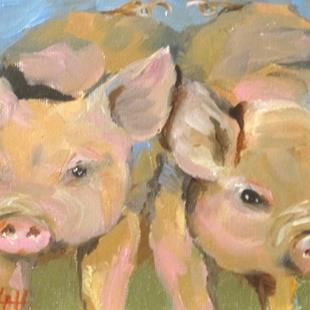 Art: Two Pigs-sold by Artist Delilah Smith