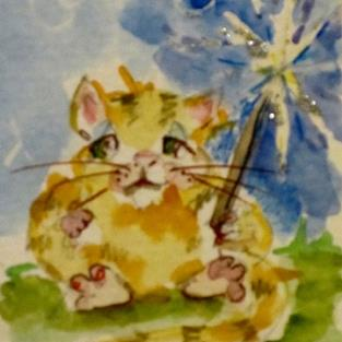 Art: Fat Cat and Sparkler by Artist Delilah Smith