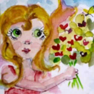 Art: Fairy Picking Flowers by Artist Delilah Smith