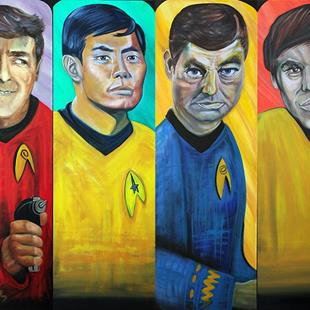 Art: STAR TREK - Scotty - Sulu - Dr. Mc Coy - Chekov by Artist Laura Barbosa