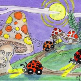 Art: Out Cruising in the Moonlight - Lil' Lady Bug Cars - SOLD by Artist Kim Loberg