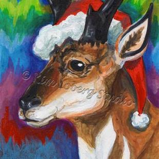 Art: Pronghorn Santa Watching the Northern Lights - SOLD by Artist Kim Loberg