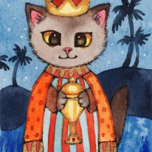 Art: Kitty Magi I ACEO by Artist Carmen Medlin